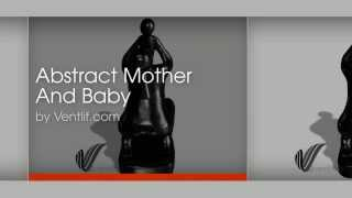 Abstract Mother And Baby Wood Carving Home Decor