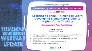 VIBAL GROUP | ELEMENTARY EDUCATION WEBINAR UPDATE | JULY 21 2020 | WITH CERTIFICATE