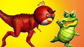 ANGRY BIRDS attacked by crocodiles and alligators...and a T-REX BIG...