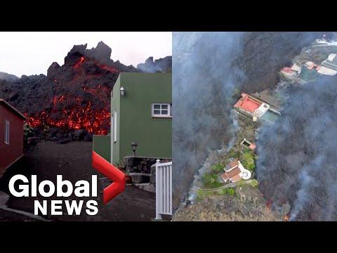 La Palma volcano: Lava continues destructive flow as volcanic ash covers villages