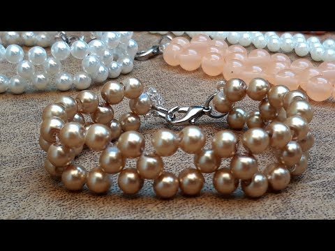Bonita y Fácil Pulsera de Perlas...Clase ·156!!!