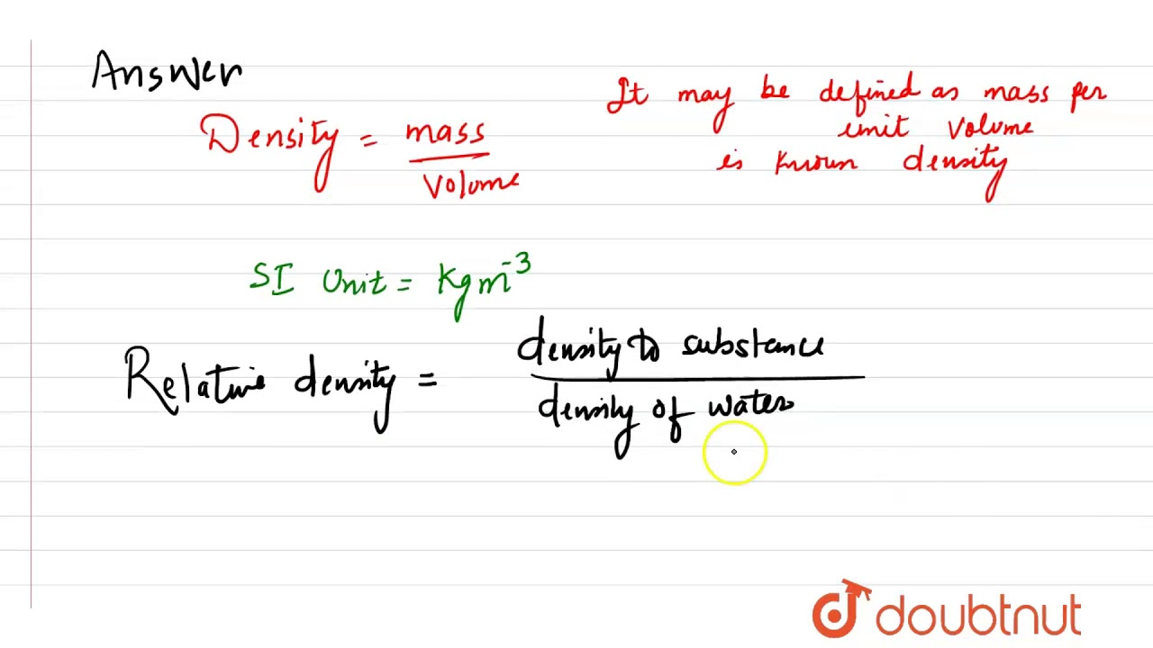 what is the si unit for density