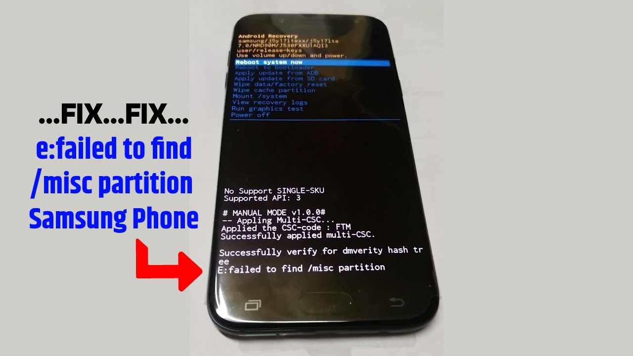 FIX e:failed to find /misc partition Samsung Phone