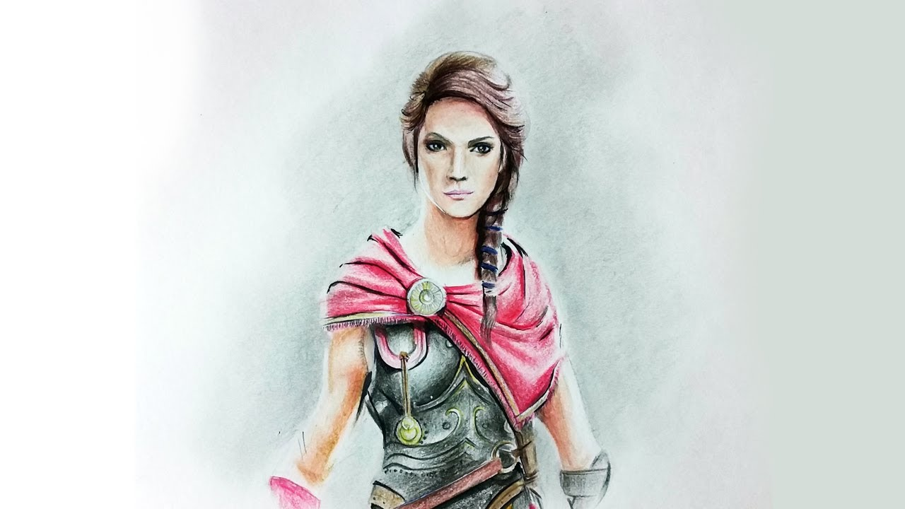 Drawing Kassandra Hd Assassin S Creed Odyssey Fc Polychromos Pencil Glue Youtube