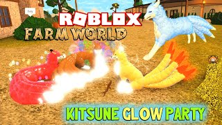 ROBLOX FARM WORLD GLOWING KITSUNE PARTY! Upgraded Rare 9 Tailed Fox and Peacock with Friends