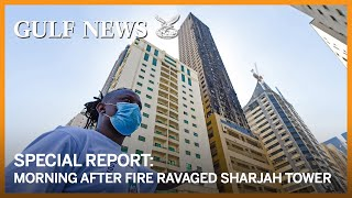 Morning after fire ravaged Sharjah's Abbco Tower