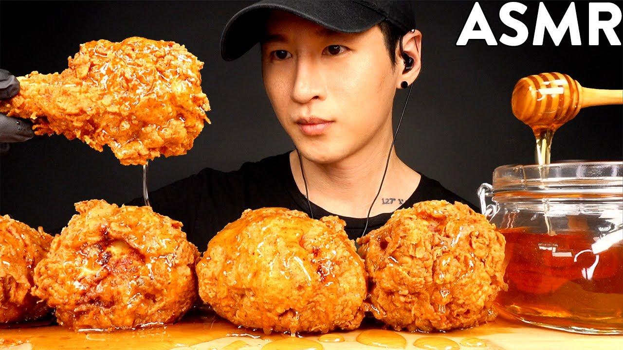 ASMR HONEY GLAZED FRIED CHICKEN MUKBANG (No Talking) COOKING & EATING SOUNDS | Zach Choi ASMR
