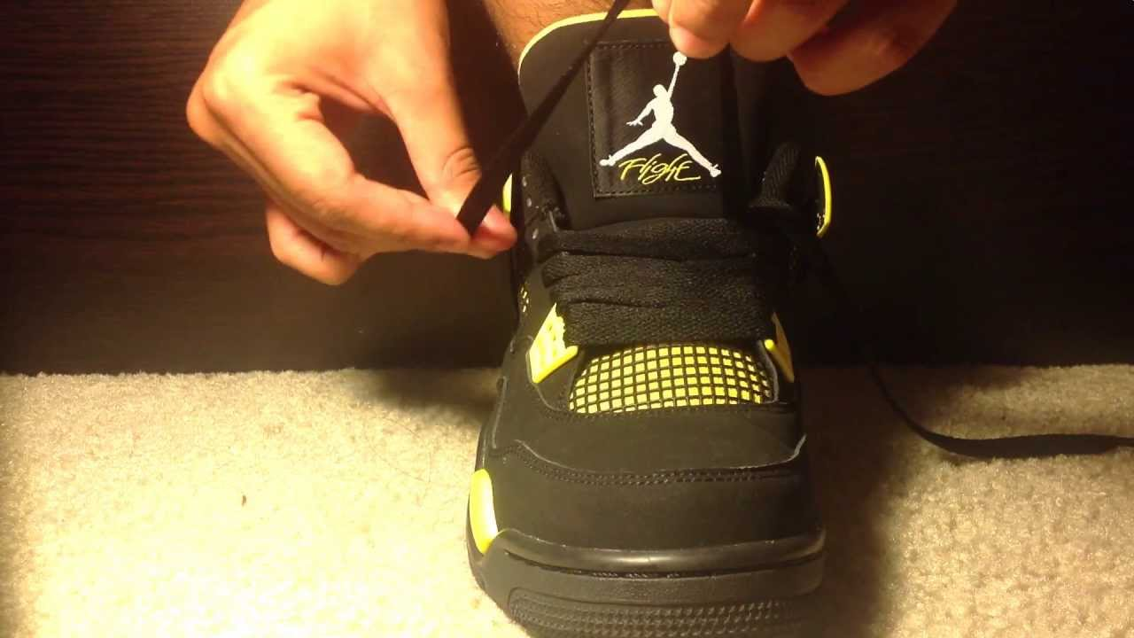 promo code 1c05d 08684 How to lace up Jordan 4 (Thunder IV) HD 1080p - YouTube