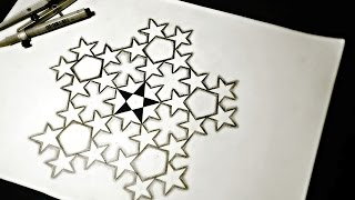 Pentagram Star Pattern ✯ How To Draw 5 Fold Geometric Art    DearingDraws
