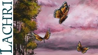 Speed Painting Surreal landscape with butterflies- Time Lapse Demo by Lachri