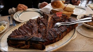 Eating the mouthwatering Rib Steak at Peter Luger Steakhouse