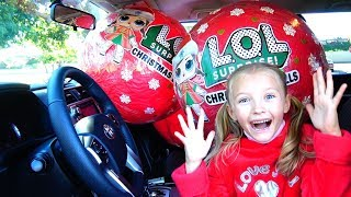 Polina and magic lol balls in  father's car