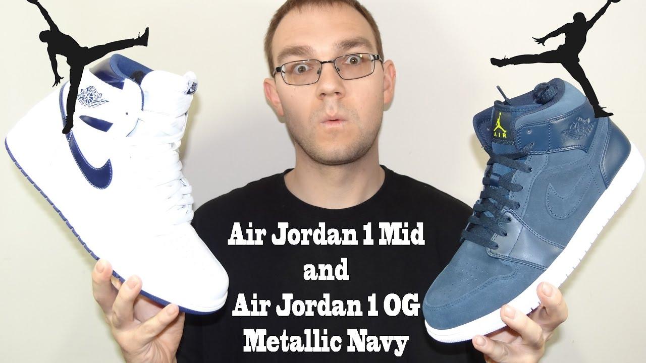 62693ad76878d9 Air Jordan 1 Mid and OG Metallic Navy Review - YouTube