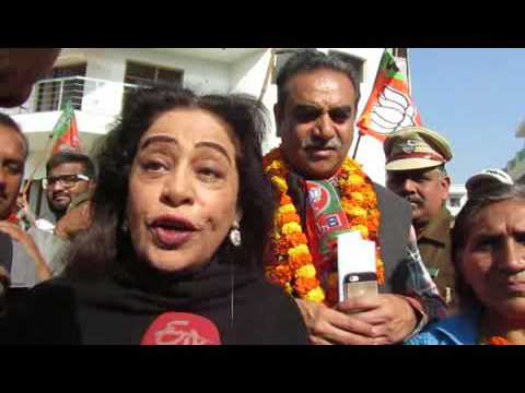 Chandigarh MP Kirron Kher addressing the media after BJP party victory in Chandigarh