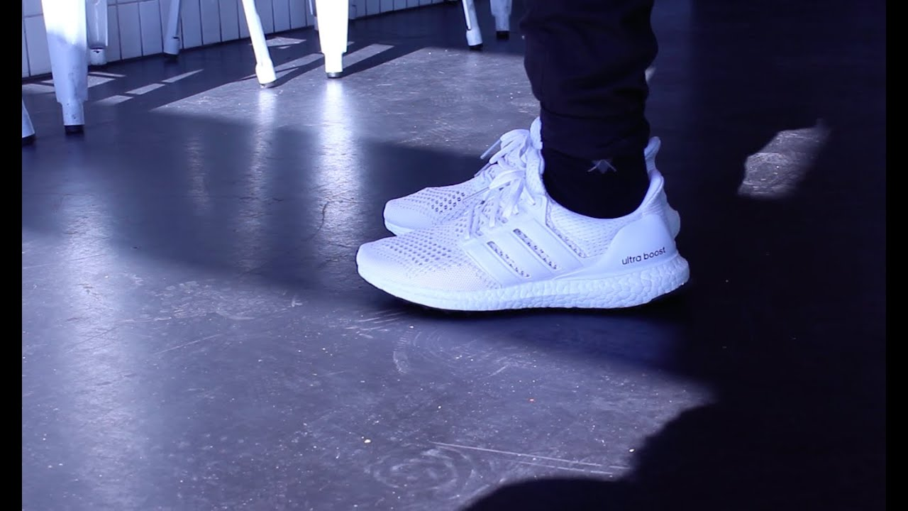 Adidas Ultra Boost All White On Feet