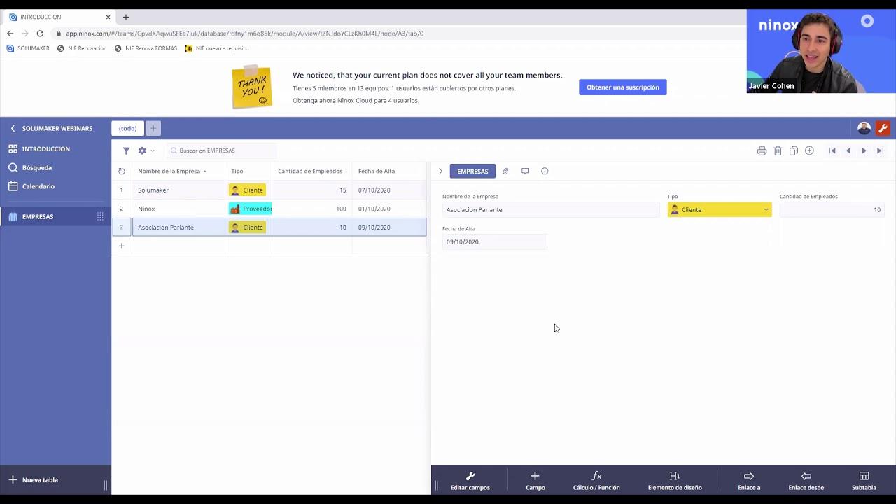 Cómo Crear Tablas y Tipos de Campos con Ninox Database en Español - Tutorial básico