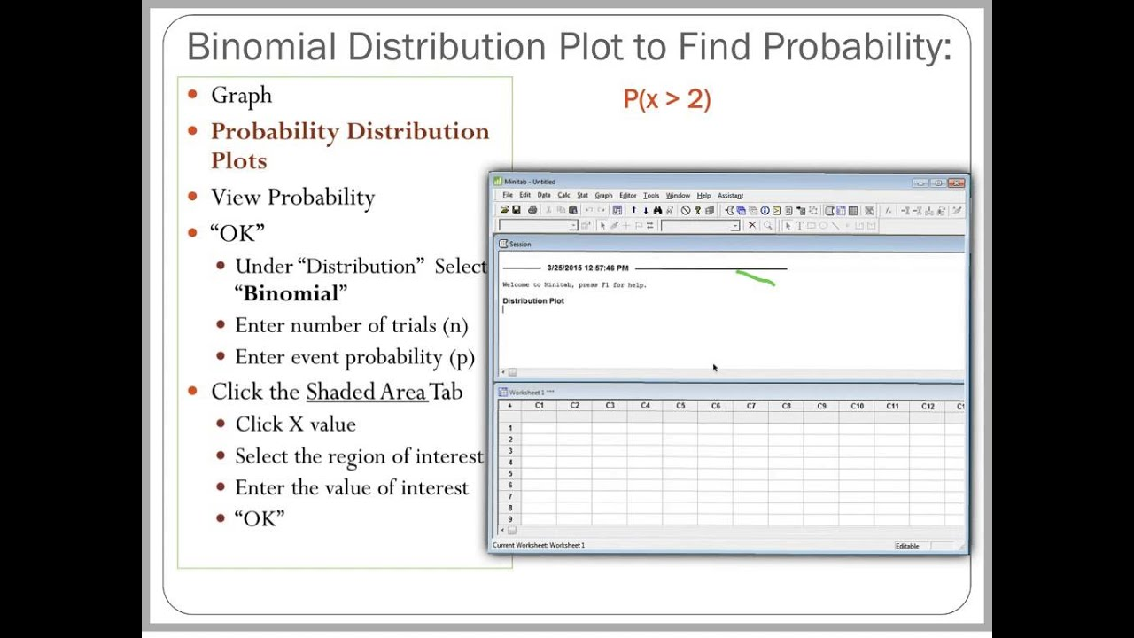 worksheet Binomial Probability Worksheet binomial distribution plots in mintab to find probability youtube probability