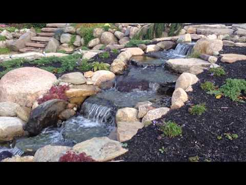 Beautiful Waterfall Pond, Natural Stone Patio, Monroe County, Rochester NY