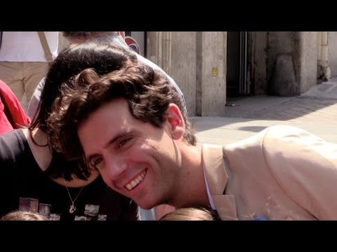 Singer Mika very chatty with his fans at Europe 1 in Paris