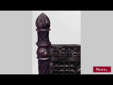 Antique English Victorian Gothic style carved burgandy