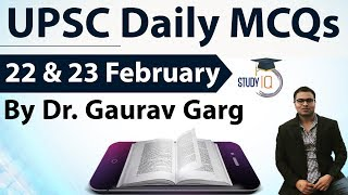 UPSC Daily MCQs on Current Affairs - 22 + 23 February 2018 - for UPSC CSE/ IAS Preparation Prelims