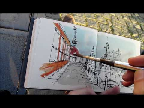 Urban sketching in the Lisbon harbor