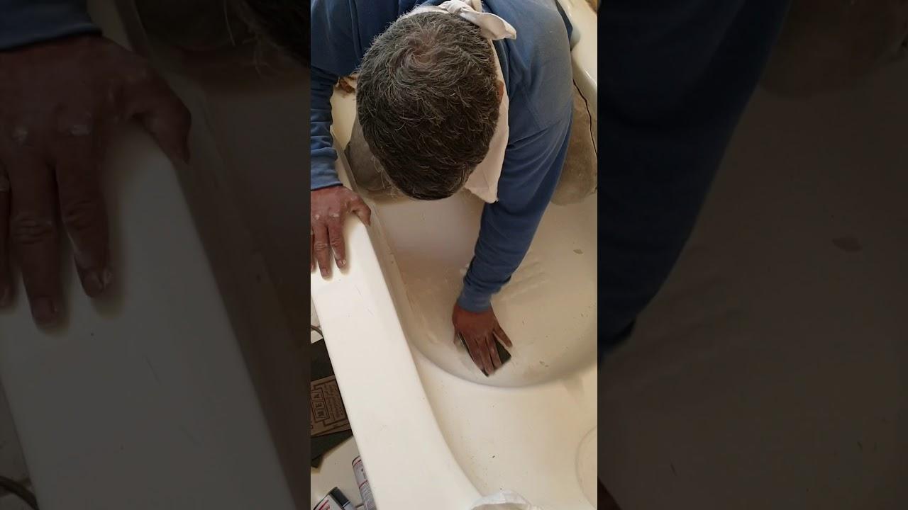 عملية معالجة شقوق في حوض الاستحمام البانيو Youtube