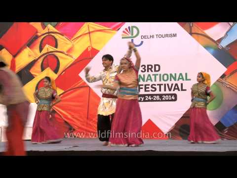Garhwali folk dance troupe at Kite flying festival, India