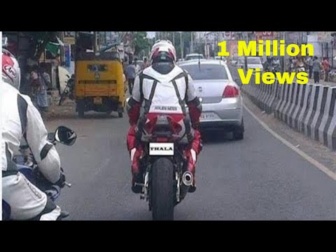 Thala ajith driving his new bike Hayabusa 1300 followed by his fan in ECR