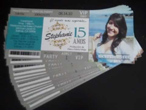 Quinceanera Tickets Silver and Aqua Invites with Photo FREE SHIPPING