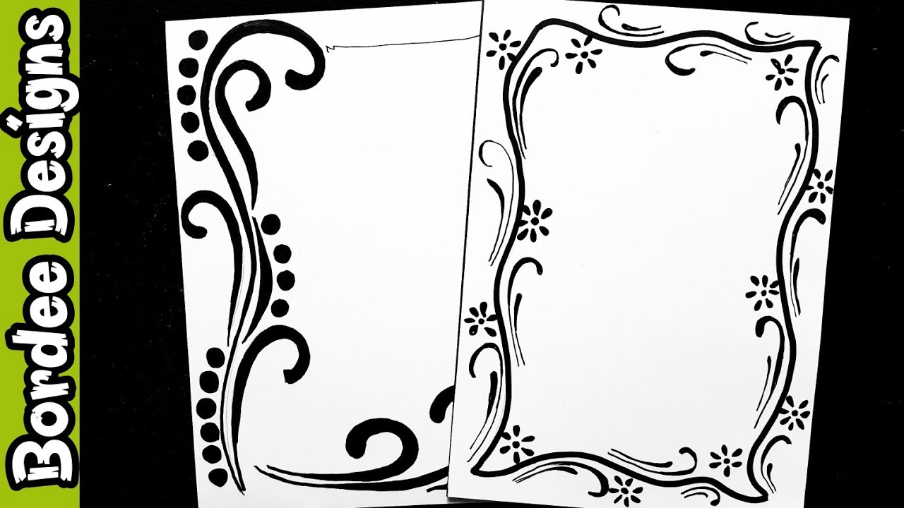 Watercolor hand drawn border pack. Border Designs On Paper Border Designs Project Work Designs Borders Design For School Project Youtube