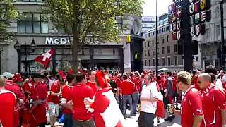England Vs Switzerland, fans pre-match in leicester square