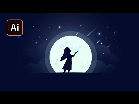 """""""Звездная ночь"""" Простая иллюстрация в Adobe Illustrator."""