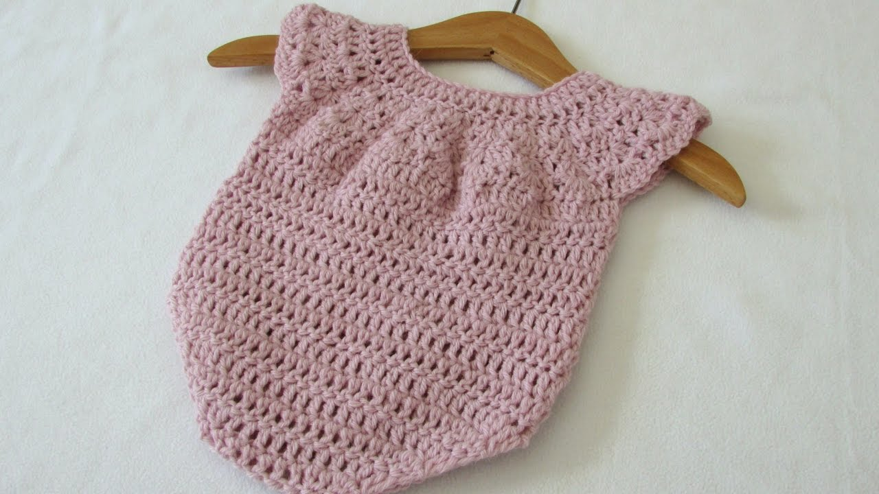 0f11f8ce35a How to crochet a cute baby girl s romper   onesie - YouTube