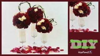 DIY Tall Romantic Rose Wedding Centerpiece   Dollar Tree Vase Hack   DIY Tutorial