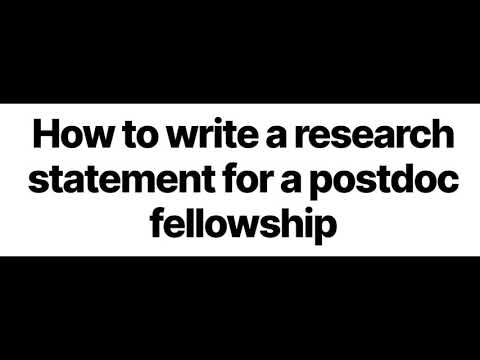 How To Write A Research Statement For A Postdoc Fellowship