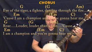 Roar (Katy Perry) Banjo Cover Lesson with Chords/Lyrics - Capo 3rd