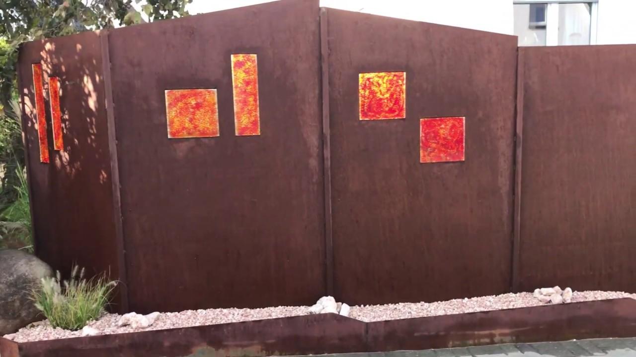 Sichtschutz Aus Stahl Und Orange Rotem Glas Youtube