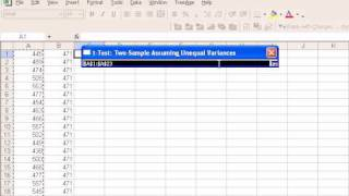 One Sample t-test with Excel