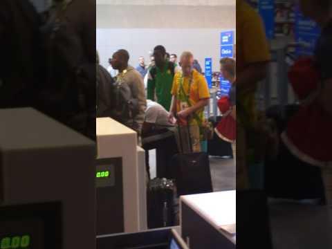 Usain Bolt drunk at Rio de Janeiro Galeao airport