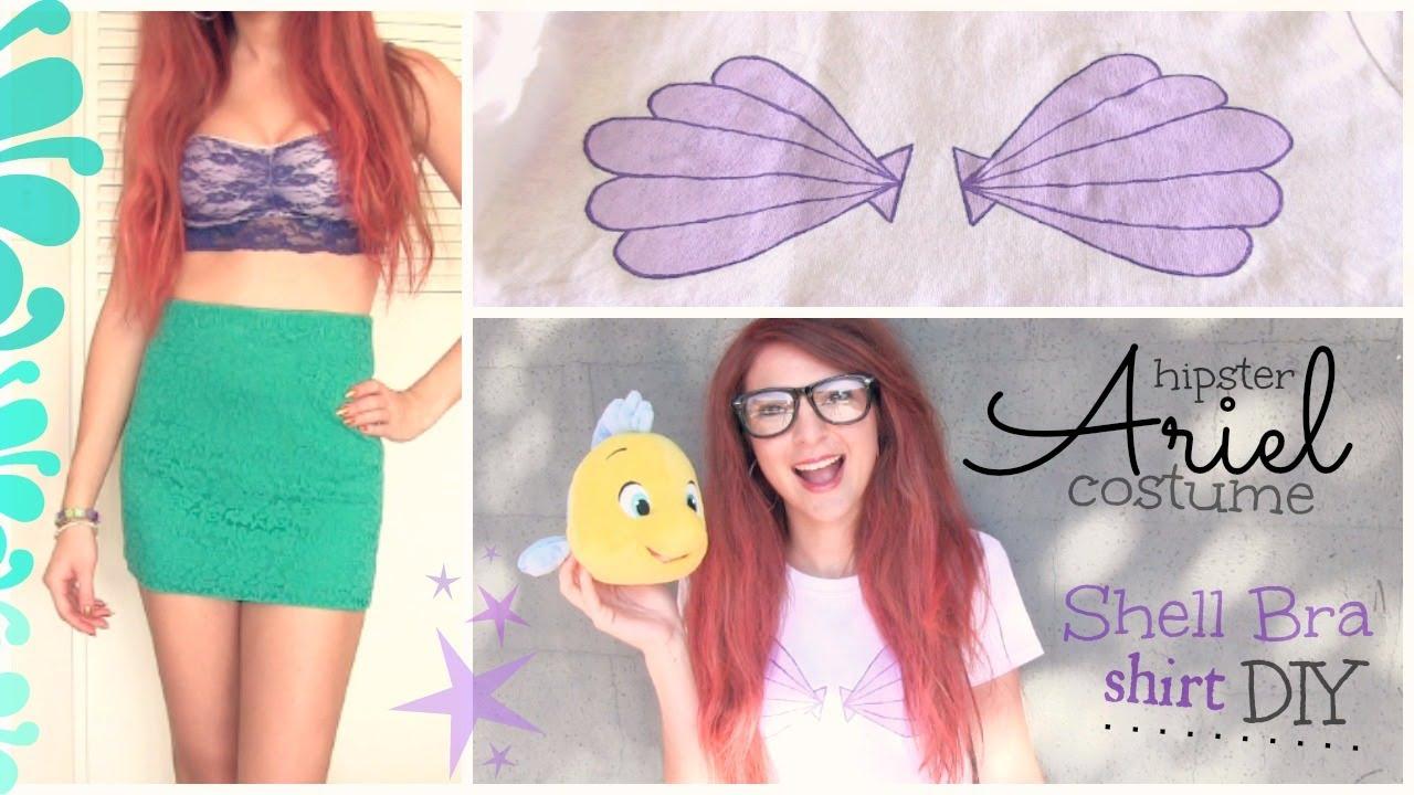 sc 1 st  YouTube & ARIEL Disney Princess Costume - Hipster - Shell Bra Shirt DIY - YouTube