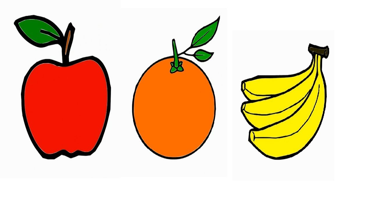 Drawing for Kids 3 Fruit Coloring Pages How to draw Apple ...