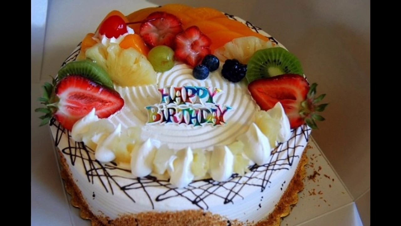 Birthday Cake With Fruit Decoration Youtube