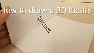 Cómo dibujar una escalera tridimensional sobre papel.|How to draw a 3D ladder