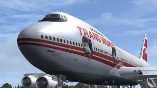 FSX | Old bird landing in Rome B747-100 Trans World Airlines