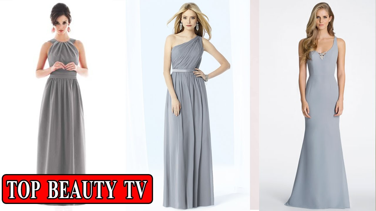 Grey Long Bridesmaid Dresses