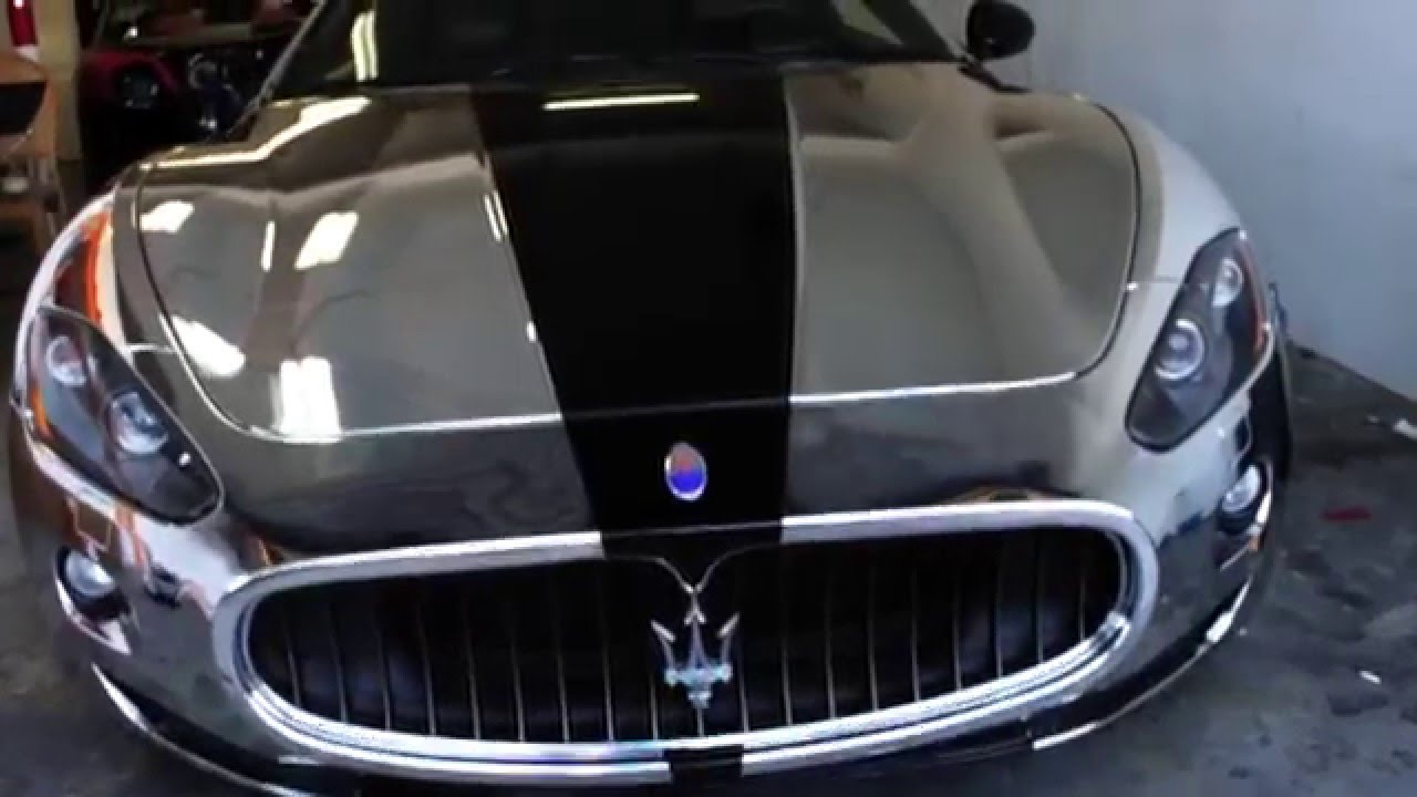 Chrome Car Wrap >> Maserati GranTurismo Silver Chrome Wrapped by Diamond Black Exteriors - YouTube
