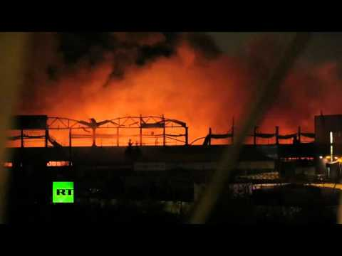 Brutal Blaze: 10,000 sq m warehouse on fire in Russia's St. Petersburg
