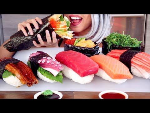 ASMR Eating Giant Sushi and Handroll *No Talking*