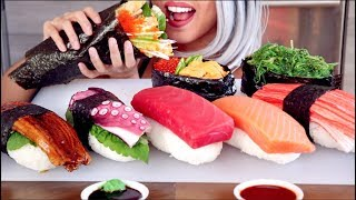 ASMR Eating Giant Sushi and Handroll *No Talking*